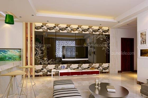 花纹,表现出别致的室内空间装修,在搭配背景墙玻璃上方和下方的壁纸